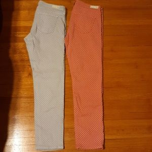 2 pairs of ag Adriano goldschmied polka dot jeans
